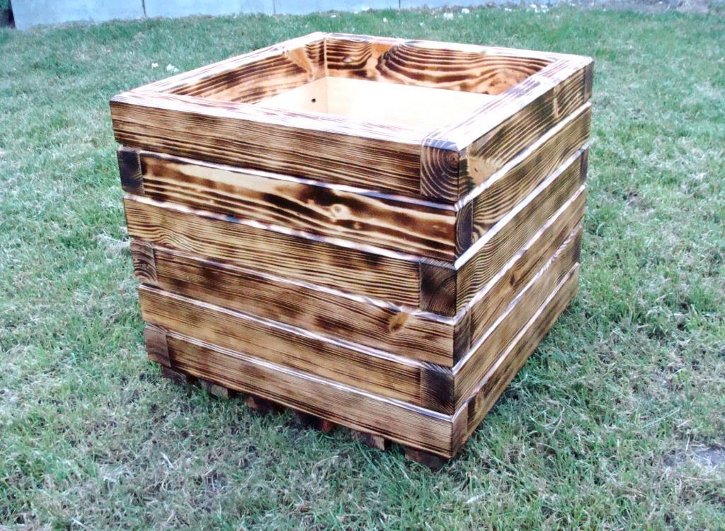 Кадка, кашпо, вазон деревянный для растений и деревьев (квадрат)