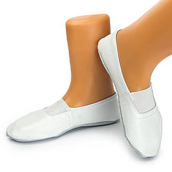 Детские белые кожаные чешки для гимнастики (14-22 см), спортивные чешки из натуральной кожи. БЕЛЫЕ