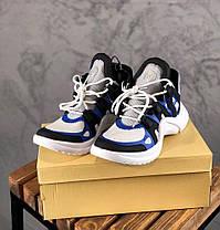 Женские кроссовки Louis Vuitton Archlight White/Black/Blue (Луи Витон) белые, фото 3
