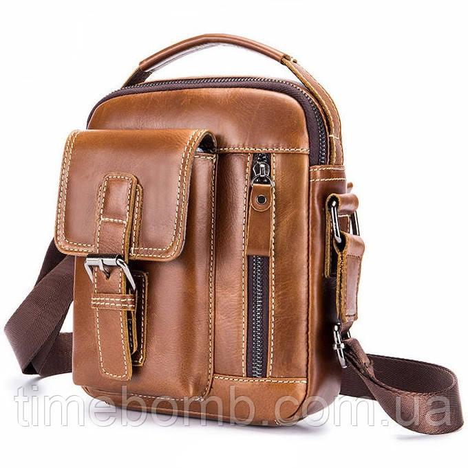 Мужская кожаная наплечная сумка барсетка Laoshizi Luosen светло коричневая 030