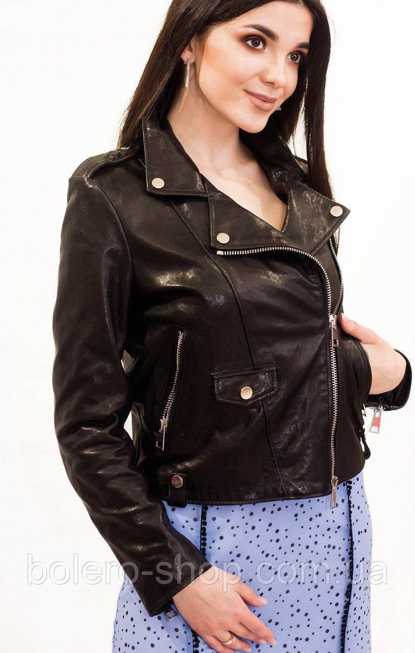 Куртка женская  кожаная черная Imperial
