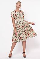 Платье летнее Лорен беж  маки, фото 1