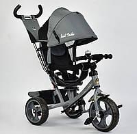 Детский трёхколёсный велосипед 5700 - 3430 Best Trike Темно-Серый, поворотное сиденье, с ручкой