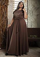 Нарядное шикарное платье в пол, макси, большого размера, дайвинг+гипюр р.52,54,56,58 капучино (568)