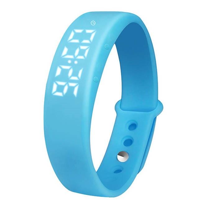 Часы Skmei  Электронные на зарядке, силиконовый голубой ремешок, длина 16,5-22см, циферблат  55*17мм