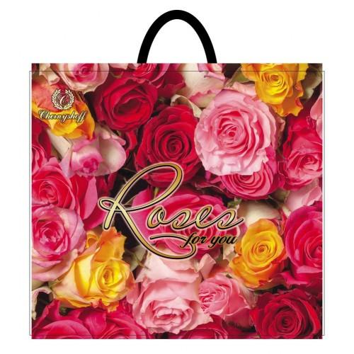 Полиэтиленовый пакет с пластиковой ручкой (сумка) ''Роза для тебя'' 380*340, 10 шт