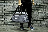 Спортивна сумка Nike стильна модна містка, колір світло-сірий (логотип білий), фото 1