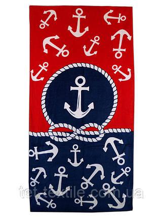 """Пляжное полотенце """"Якоря красно синие"""" 70х140см., фото 2"""