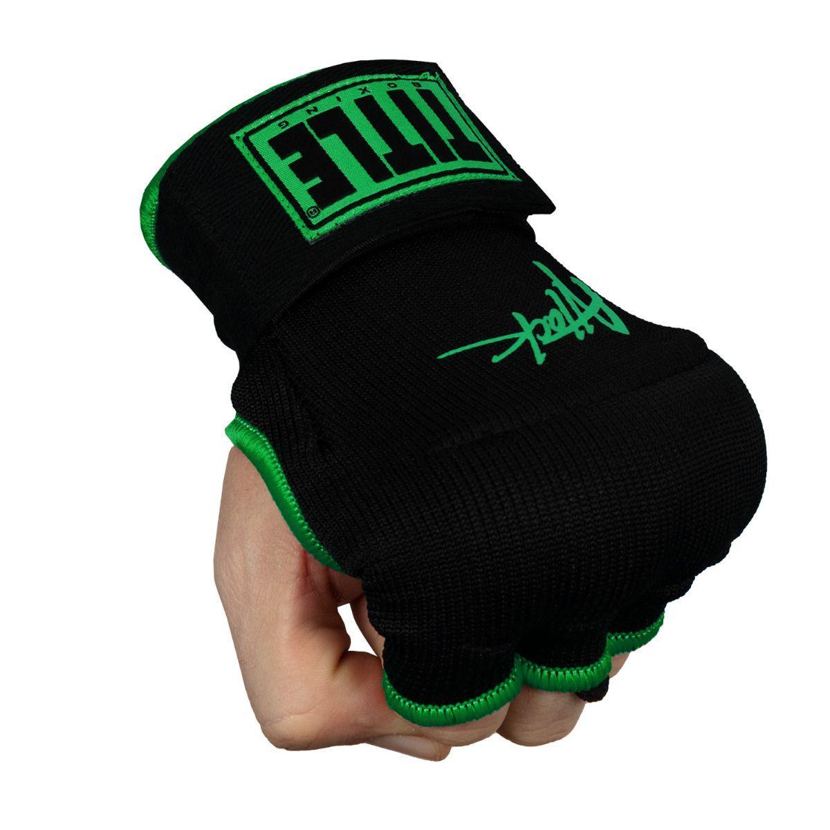 Бинт-перчатки TITLE Boxing ATTACK Nitro Speed Wraps Черные с зеленым