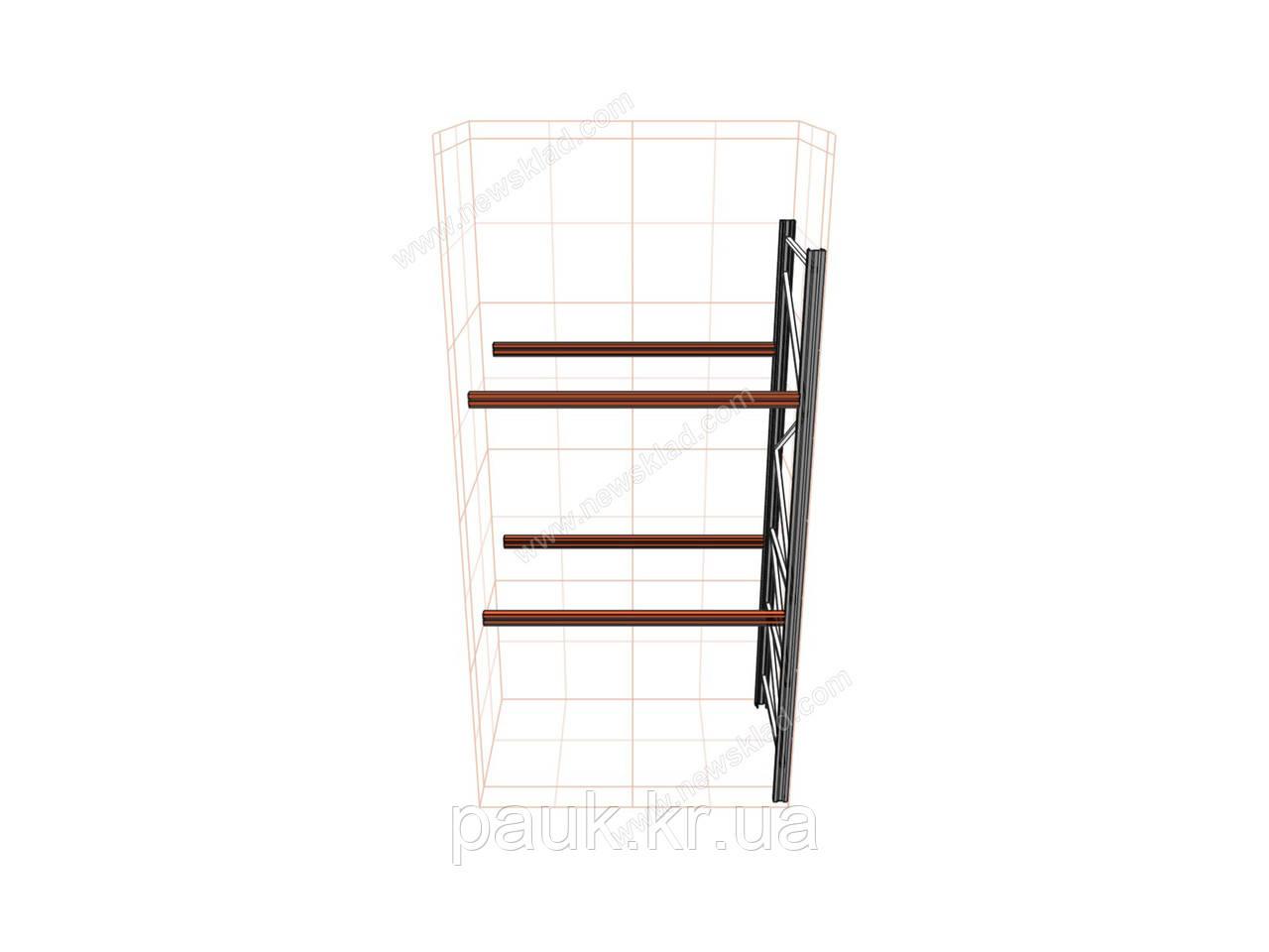 Паллетный приставной стеллаж H3500хL1800х1100 мм(пол.+2 уровня по 2000 кг на уровень), паллетное хранение