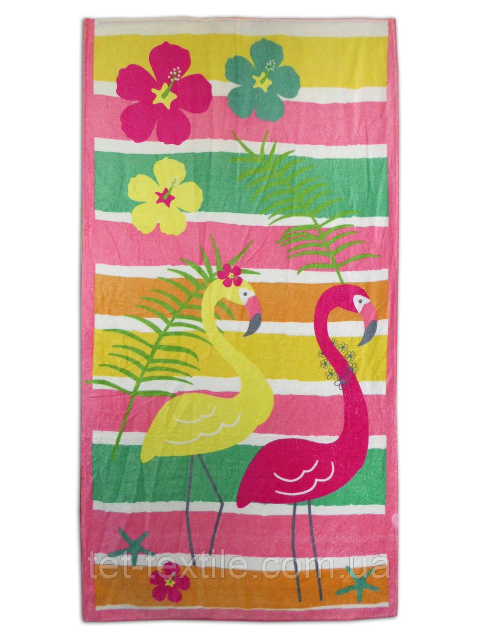 """Пляжное полотенце """"Фламинго"""" 70х140см."""