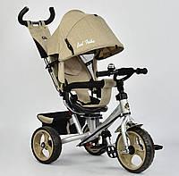 Детский трёхколёсный велосипед 5700 - 3540 Best Trike Бежевый, ткань лён, поворотное сиденье, с ручкой