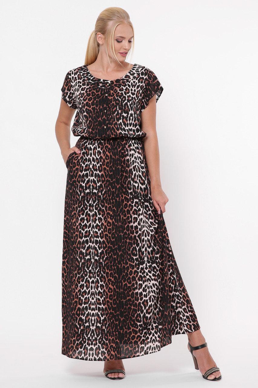 Длинное женское платье Влада леопард темный Размеры   52, 54, 56, 58