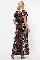 Длинное женское платье Влада леопард темный Размеры   52, 54, 56, 58, фото 3