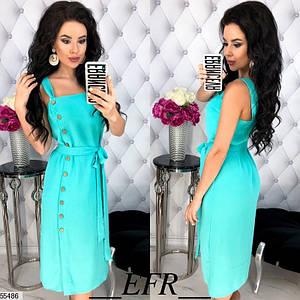 Летнее платье до колен полуоблегающее без рукав на бретельках с кнопками цвет ментол