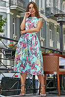 ✔️ Летнее платье жаккардовое женское с цветочным принтом 42-48 размера голубое, фото 1