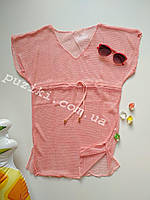 Персиковая пляжная туника сетка для девочки L-XXL р