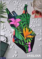 Молодёжный купальник  с цветочными принтами  S и  M