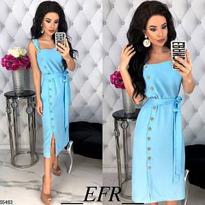 Женское платье миди полуоблегающее с разрезом без рукав на бретельках голубое