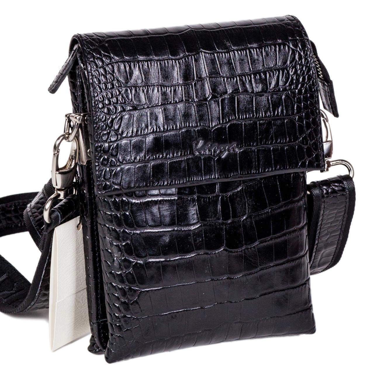 Мужская сумка Karya 0565-53 через плечо кожаная черная