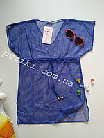 Синяя пляжная туника с люрексом для девочки L-XXL р
