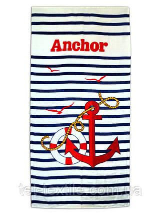 "Пляжное полотенце ""Якорь и круг"" 70х140см., фото 2"