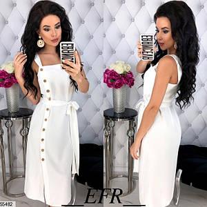 Женское платье средняя длина полуприталенное с разрезом без рукав на бретелях белого цвета