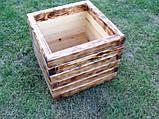 Кашпо, кадка, вазон деревянный для растений и деревьев (квадрат), фото 3
