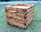 Кашпо, кадка, вазон деревянный для растений и деревьев (квадрат), фото 2