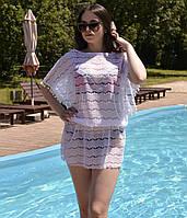 Женская пляжная туника на купальник, ажурная с напуском, фото 1