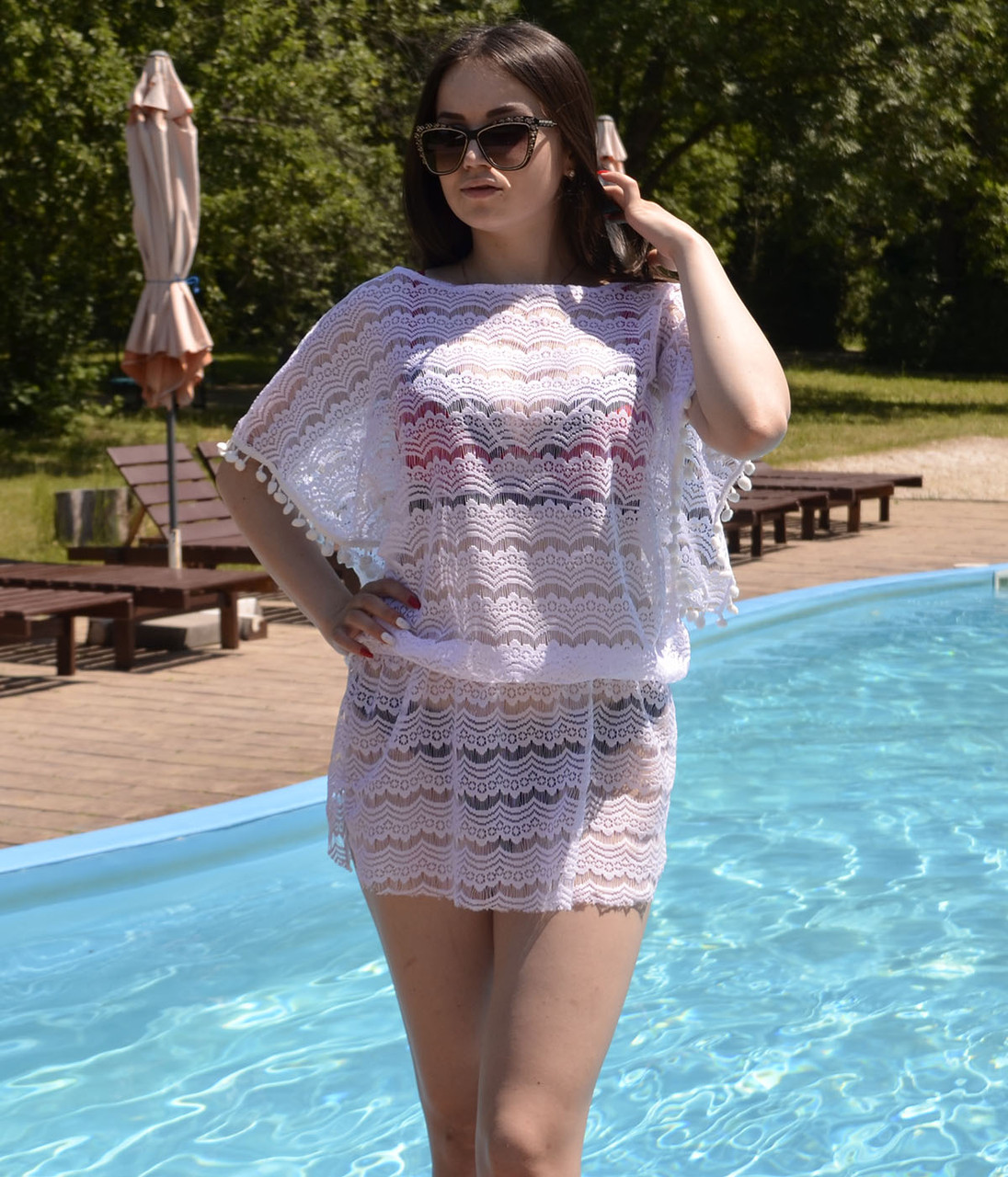 Женская пляжная туника на купальник, ажурная с напуском
