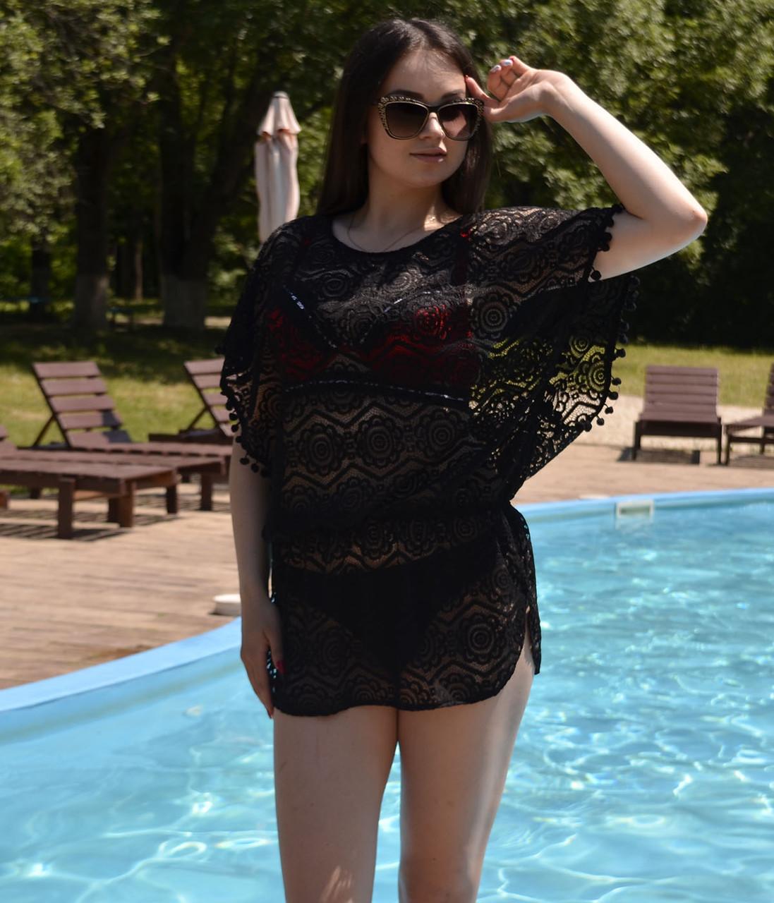 Женская молодежная пляжная туника, ажурная с напуском размер 42-48