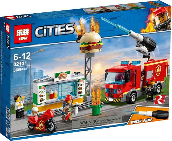 """Конструктор Lepin 02131 """"Пожар в бургер-кафе"""" (аналог Lego City 60214), 366 дет"""
