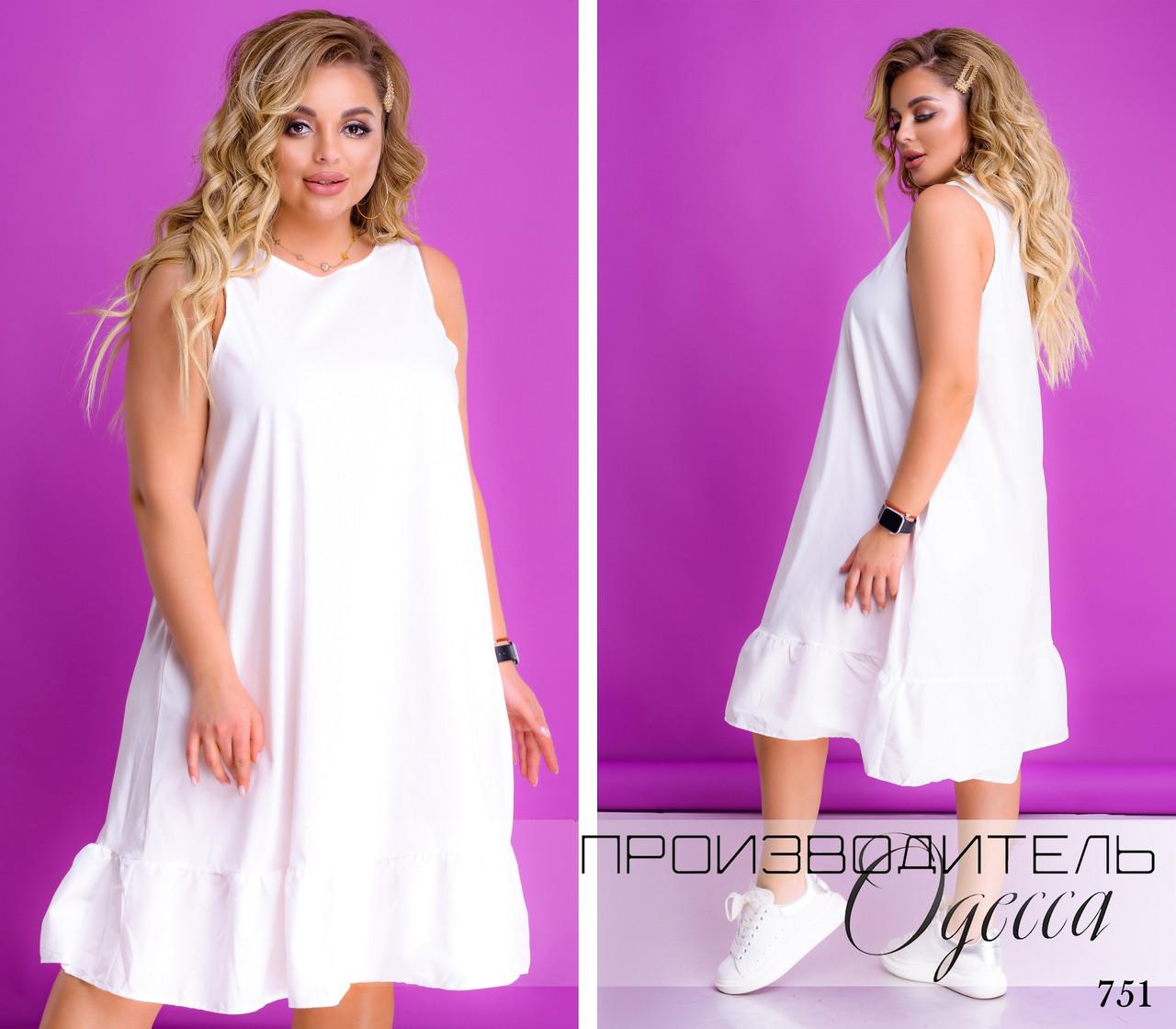 Платье свободного фасона летнее коттон стрейч 50-52,54-56