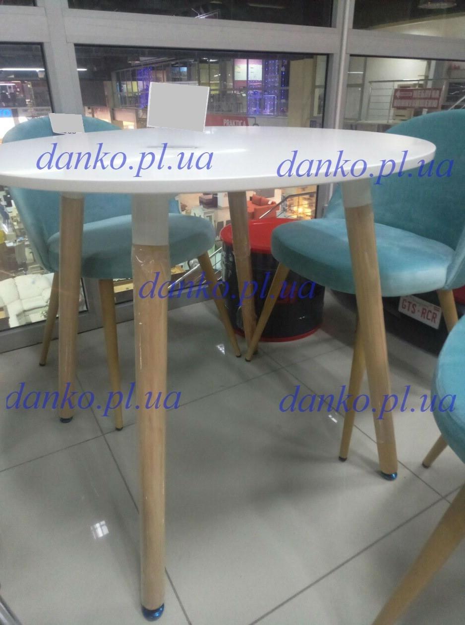 Обеденный круглый стол DT-9017 NOLAN III белый на буковых ножках, D800