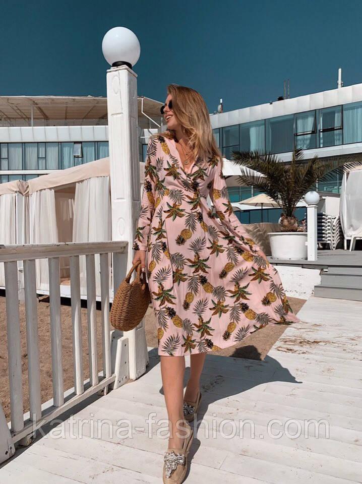 Женское летнее платье софт с принтами (2 цвета)