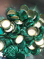 Крышки пивные зеленые. Кроненпробки 100 шт 26 мм
