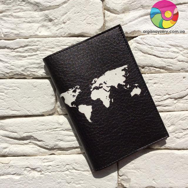 Обложка для паспорта Let's travel 2 (черный)