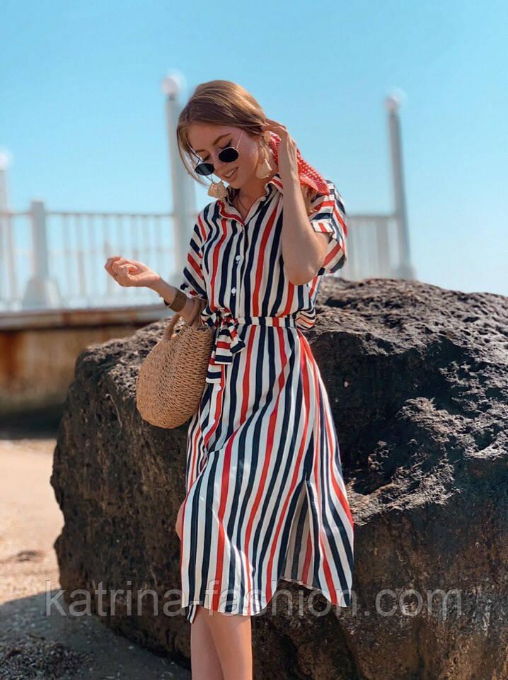 Женское летнее платье-рубашка в полоску (в расцветках)
