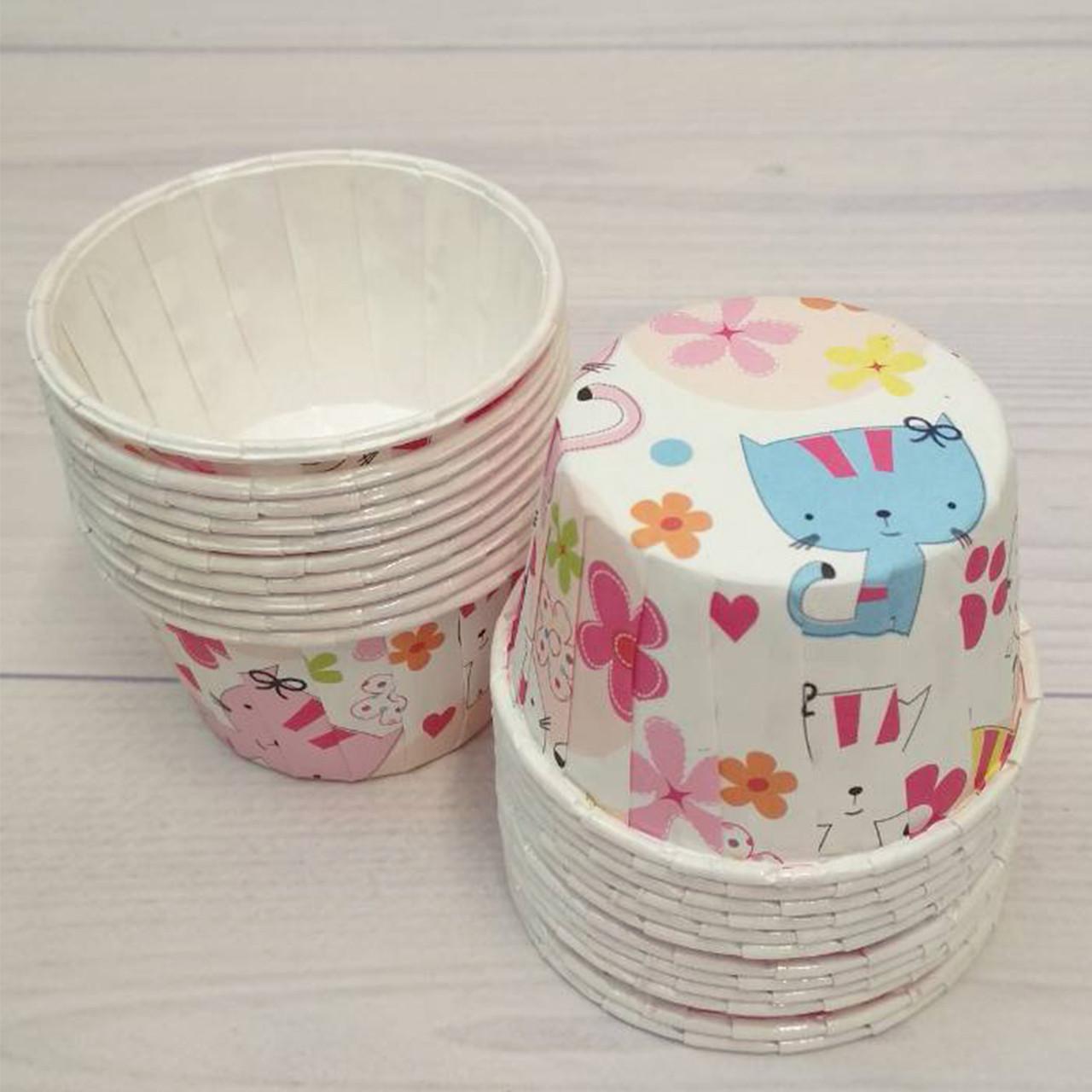 Формы бумажные для кексов усиленные с бортиком детский принт, 50*35 мм