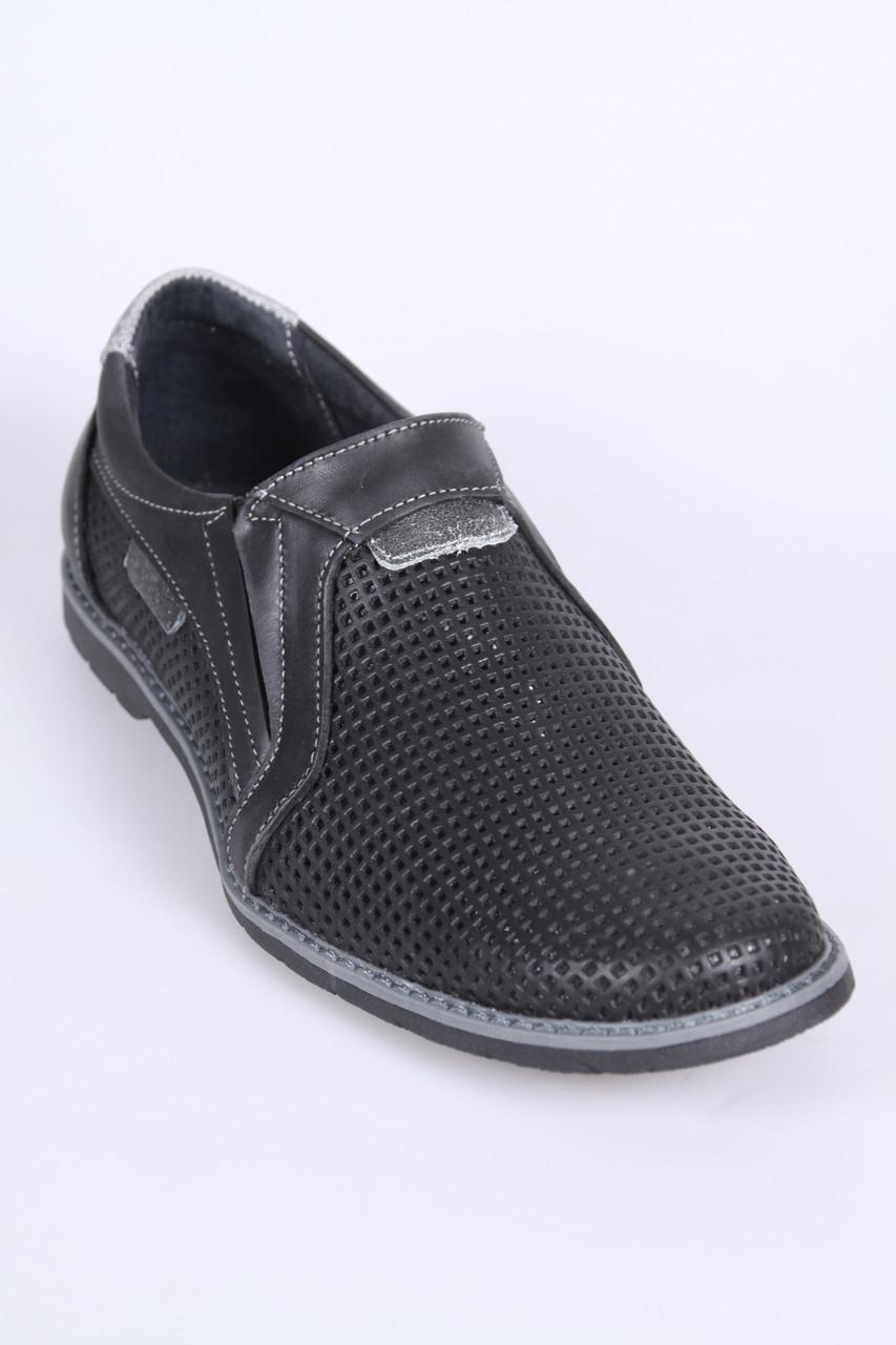 Летние мужские туфли из натуральной перфорированной кожи