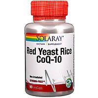 Solaray, Красный дрожжевой рис + коэнзим Q10, 90 вегетарианских капсул
