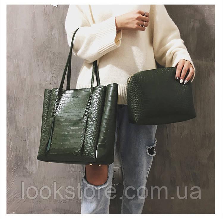 Женская вместительная сумка МКМК зеленая