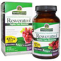 Nature's Answer, Resveratrol, Резвератрол , 637 мг, 60 вегетарианских капсул