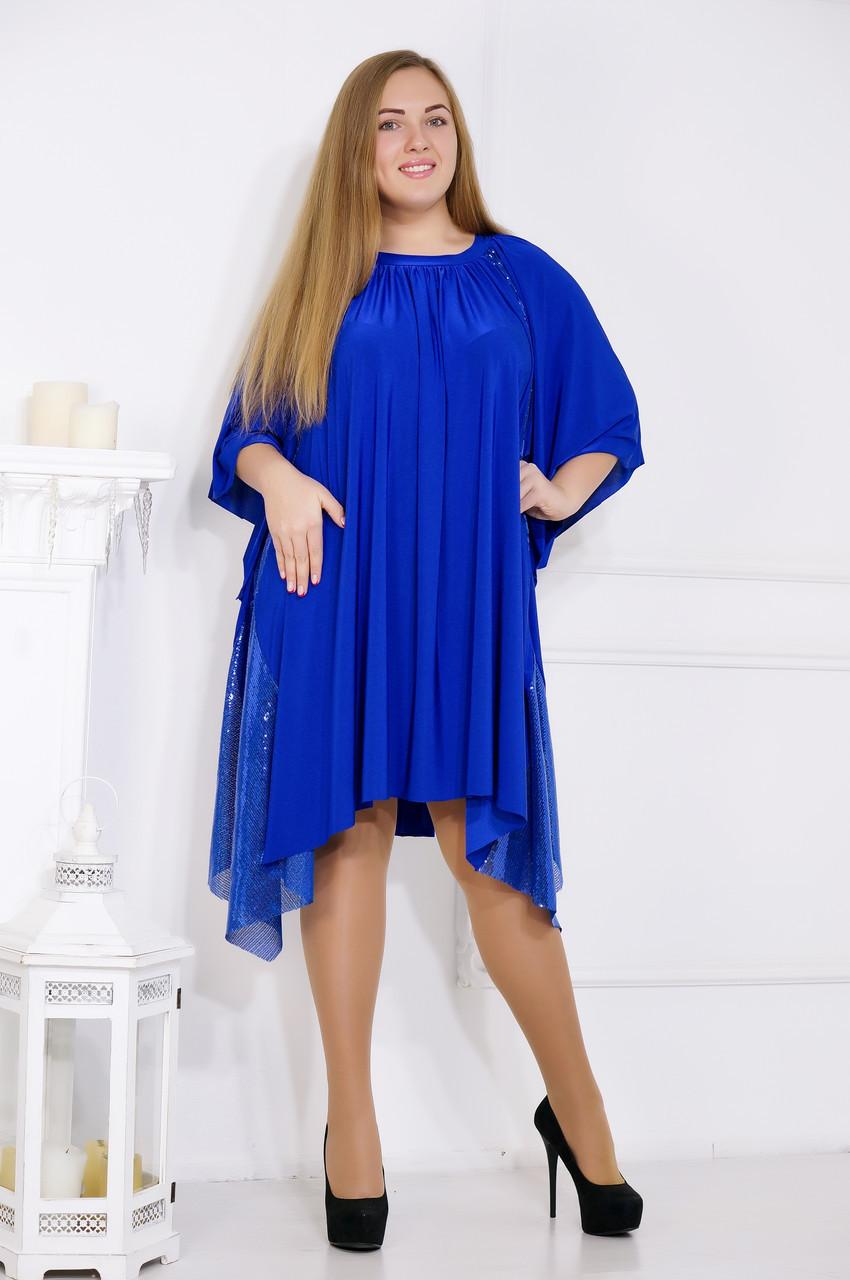 Вечернее платье свободного кроя асимметричное с вставками из пайеток №167
