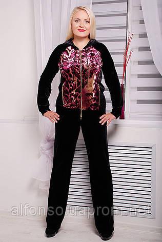 Женский брючный костюм двойка из велюра большого размера №113 черный, фото 2