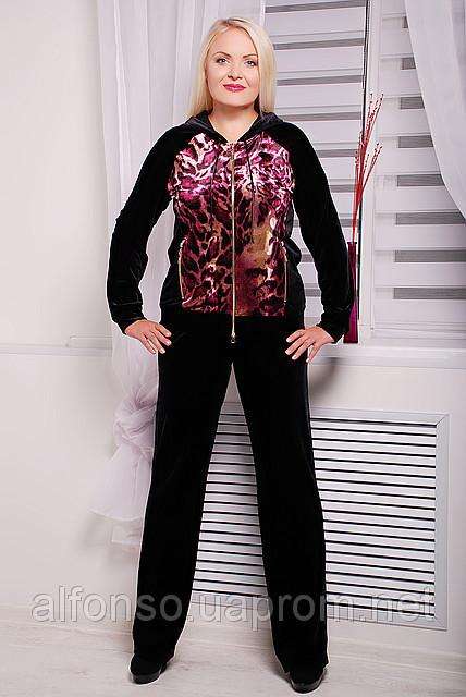 Женский брючный костюм двойка из велюра большого размера №113 черный