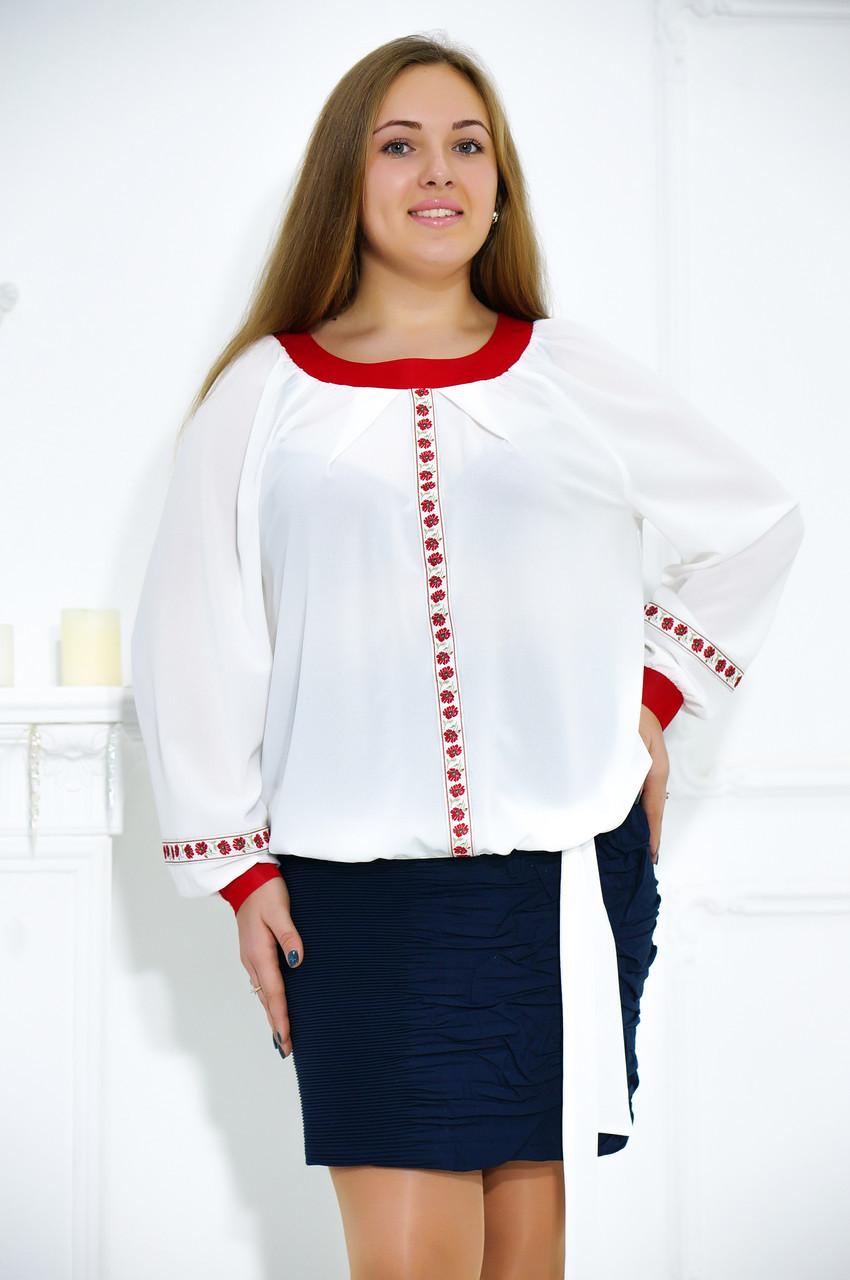 Нарядная блуза большого размера в этническом стиле №485
