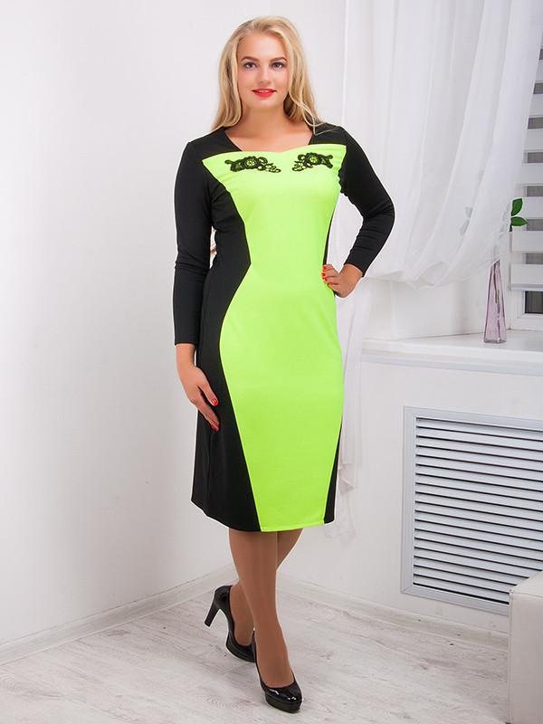 Платье женское с контрастной вставкой №716