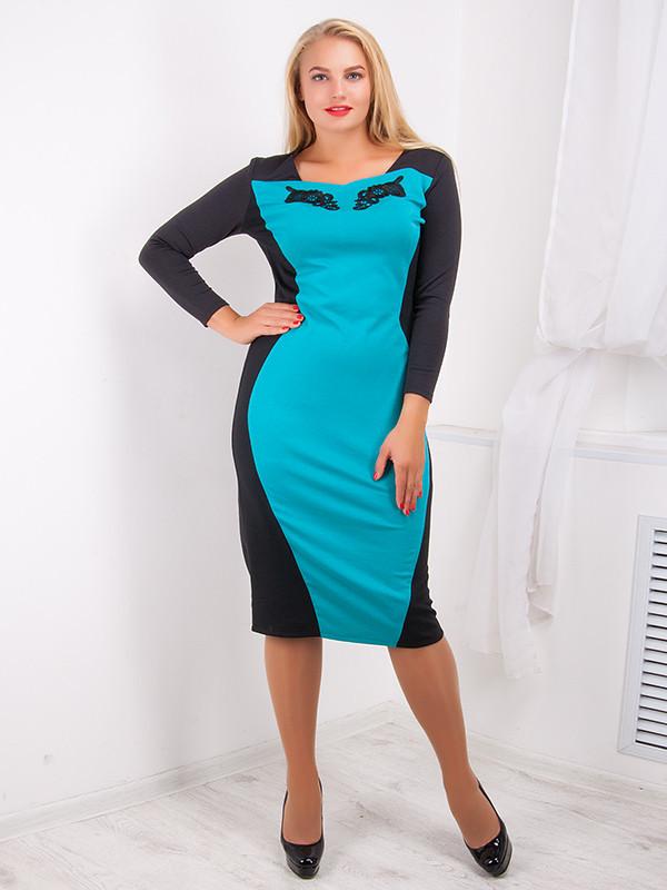 Платье женское с контрастной вставкой №724